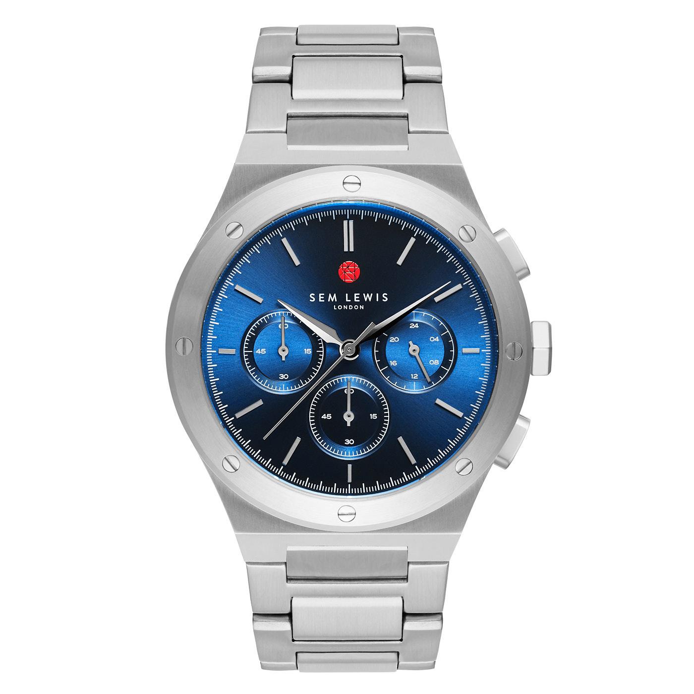 Sem Lewis Moorgate kronograf klocka silverfärgad och blå