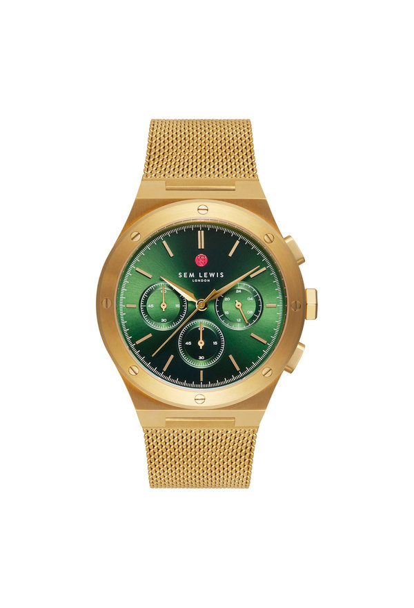 Sem Lewis Moorgate chronograph watch gold colored and green
