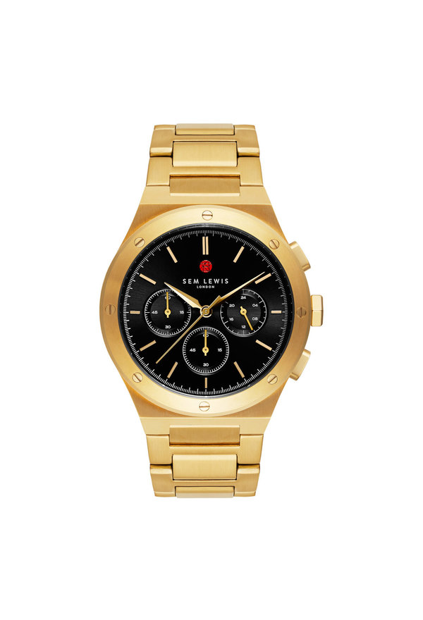 Sem Lewis Moorgate chronograph watch black/gold colored