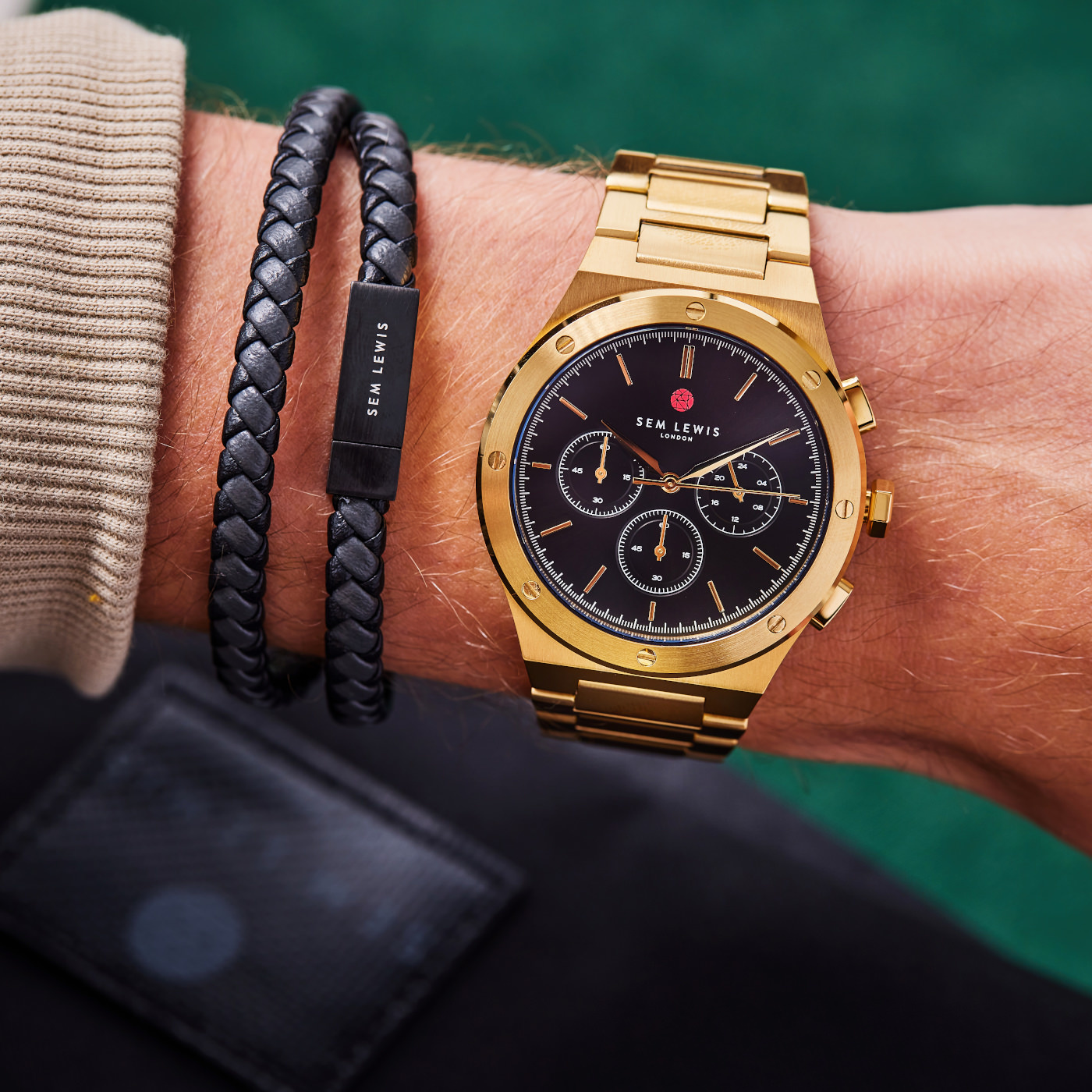Sem Lewis Moorgate chronograph watch gold colored and black