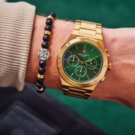 Sem Lewis Moorgate chronograph watch green/gold colored