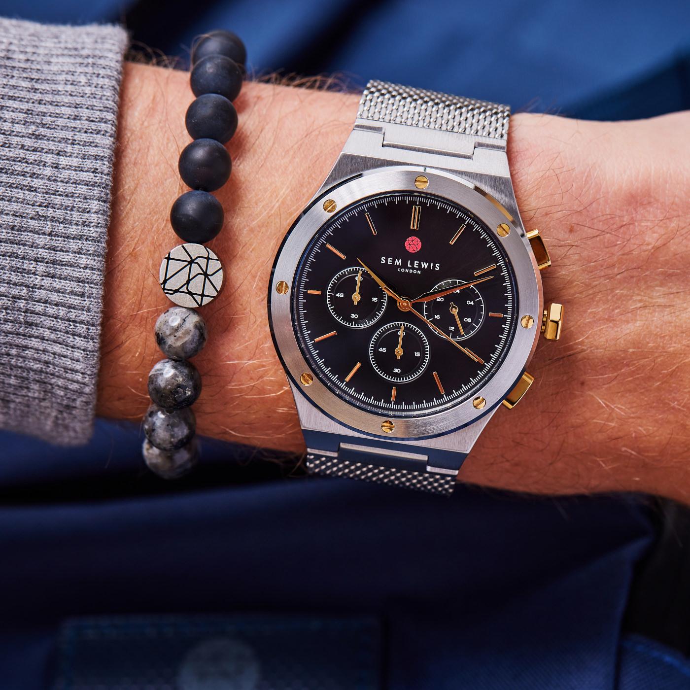 Sem Lewis Moorgate chronograaf horloge zwart/zilverkleurig