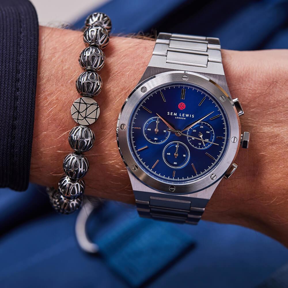 Sem Lewis Moorgate kronografur sølvfarvet og blå