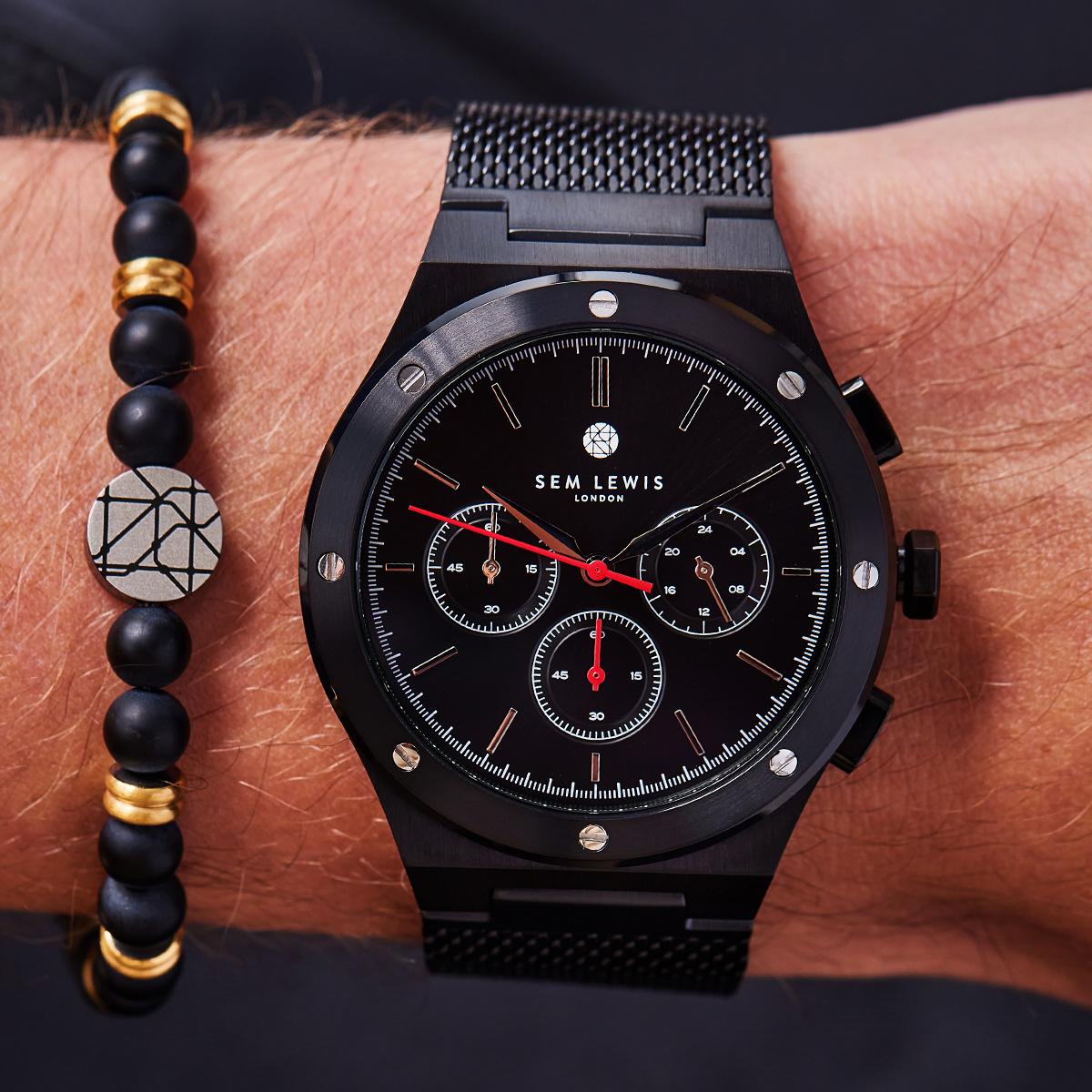 Sem Lewis Moorgate chronograph watch black