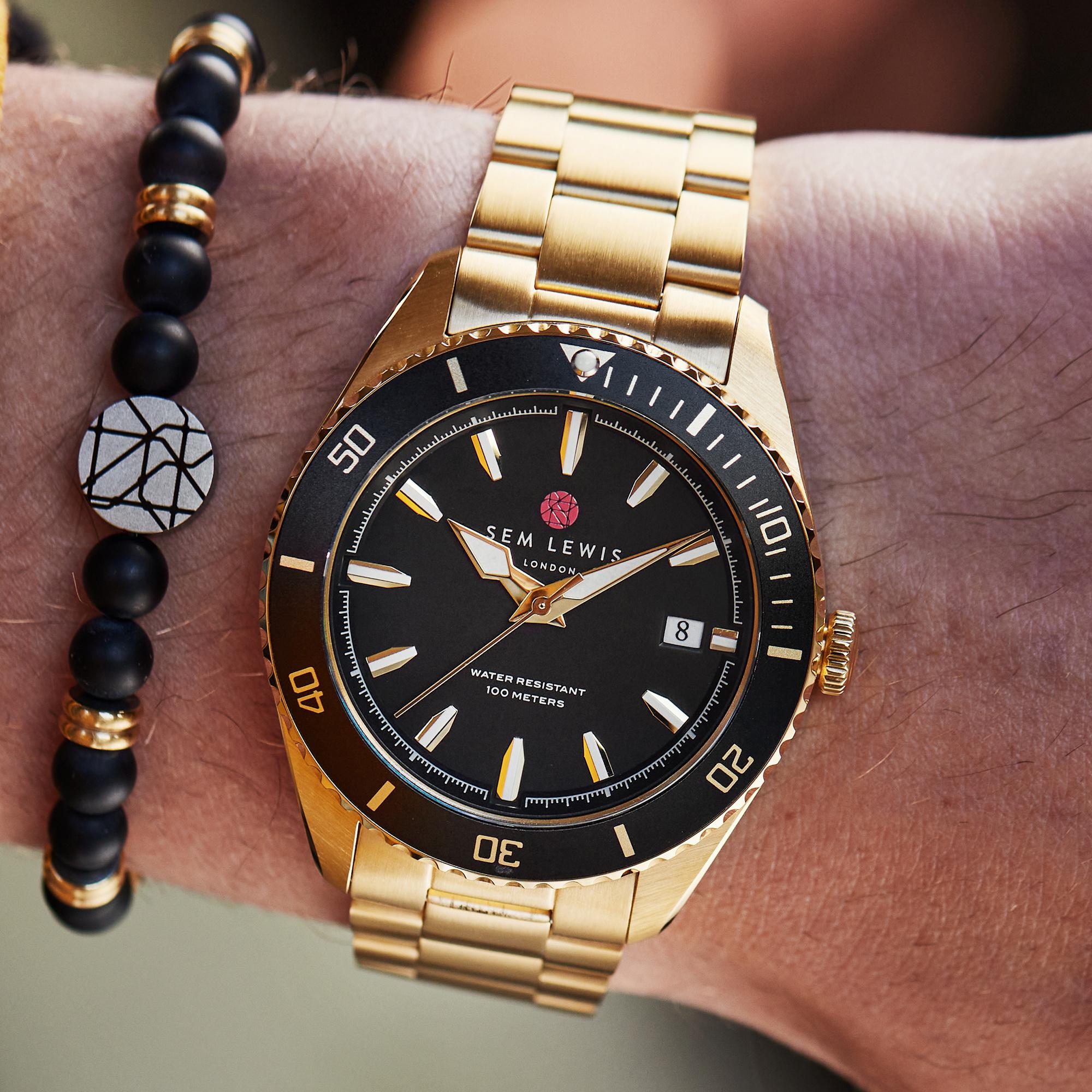 Sem Lewis Lundy Island Diver orologi color oro e nero