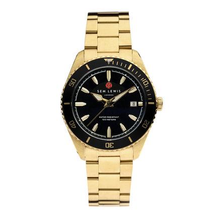 Sem Lewis Lundy Island Diver klocka guldfärgad och svart
