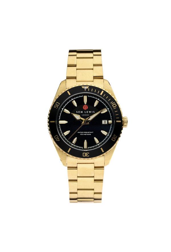 Sem Lewis Lundy Island Diver Uhr Schwarz / Goldfarben