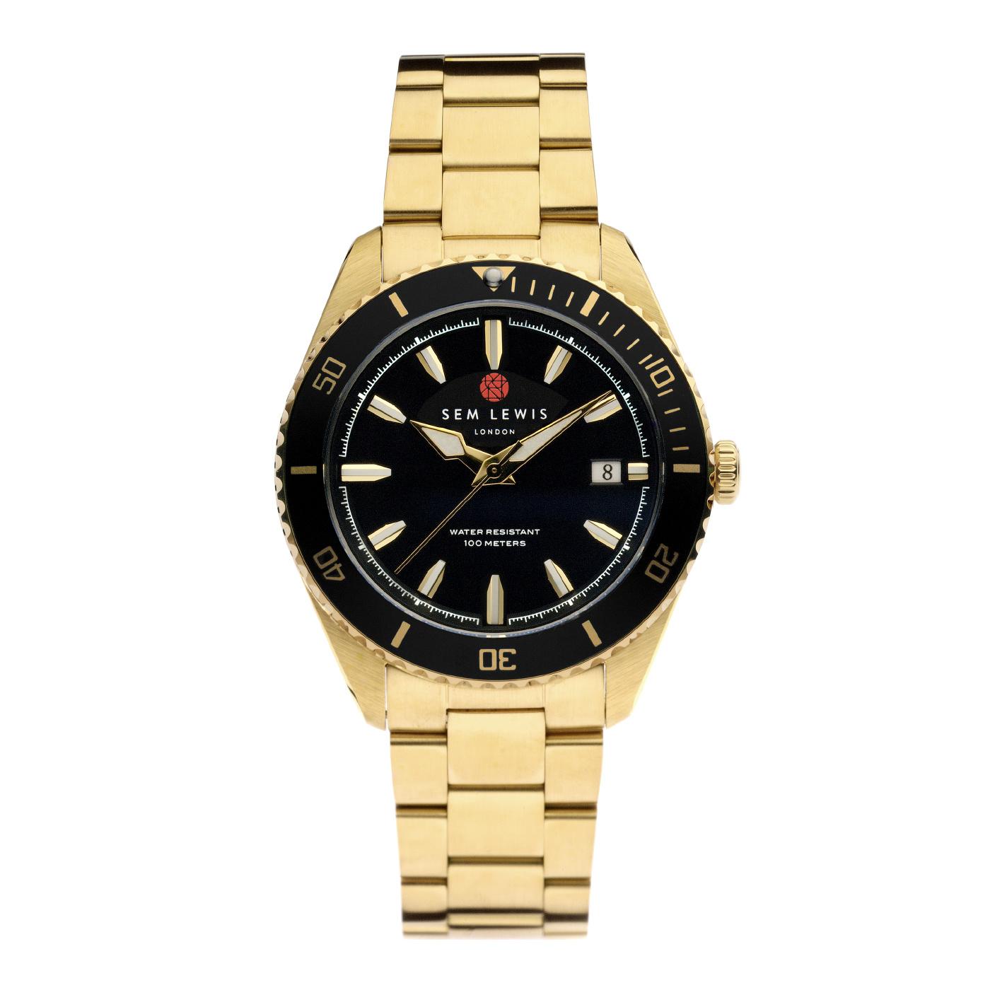 Sem Lewis Lundy Island Diver montre couleur or et noir