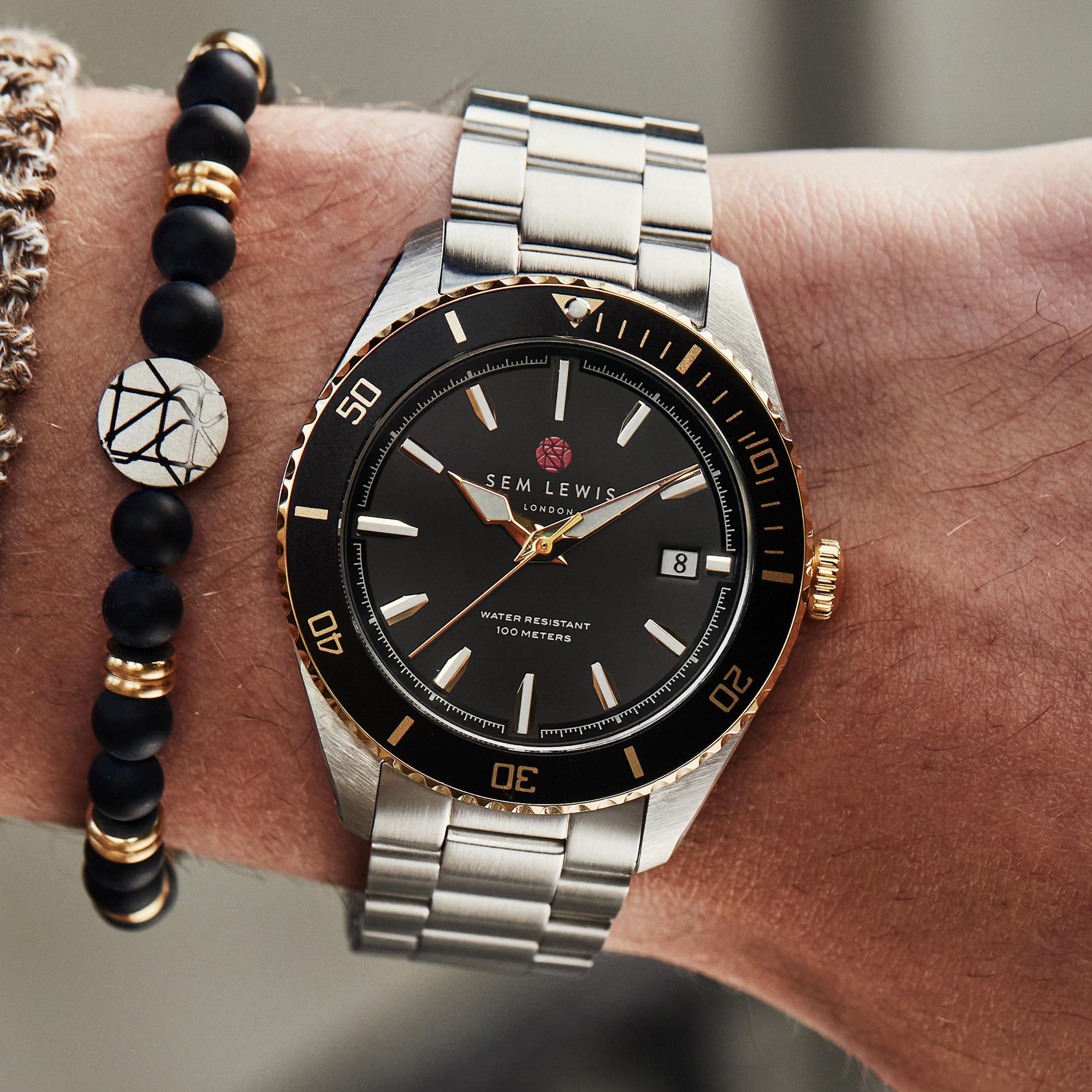 Sem Lewis Lundy Island Diver montre couleur argent et noir