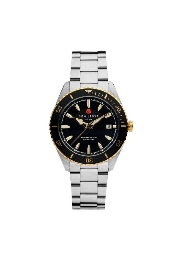 Sem Lewis Lundy Island Diver Uhr silberfarben und schwarz