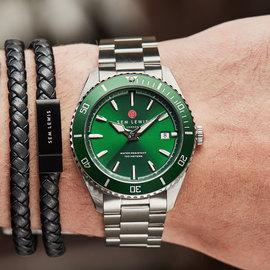 Sem Lewis Lundy Island Diver horloge Groen / Zilverkleurig