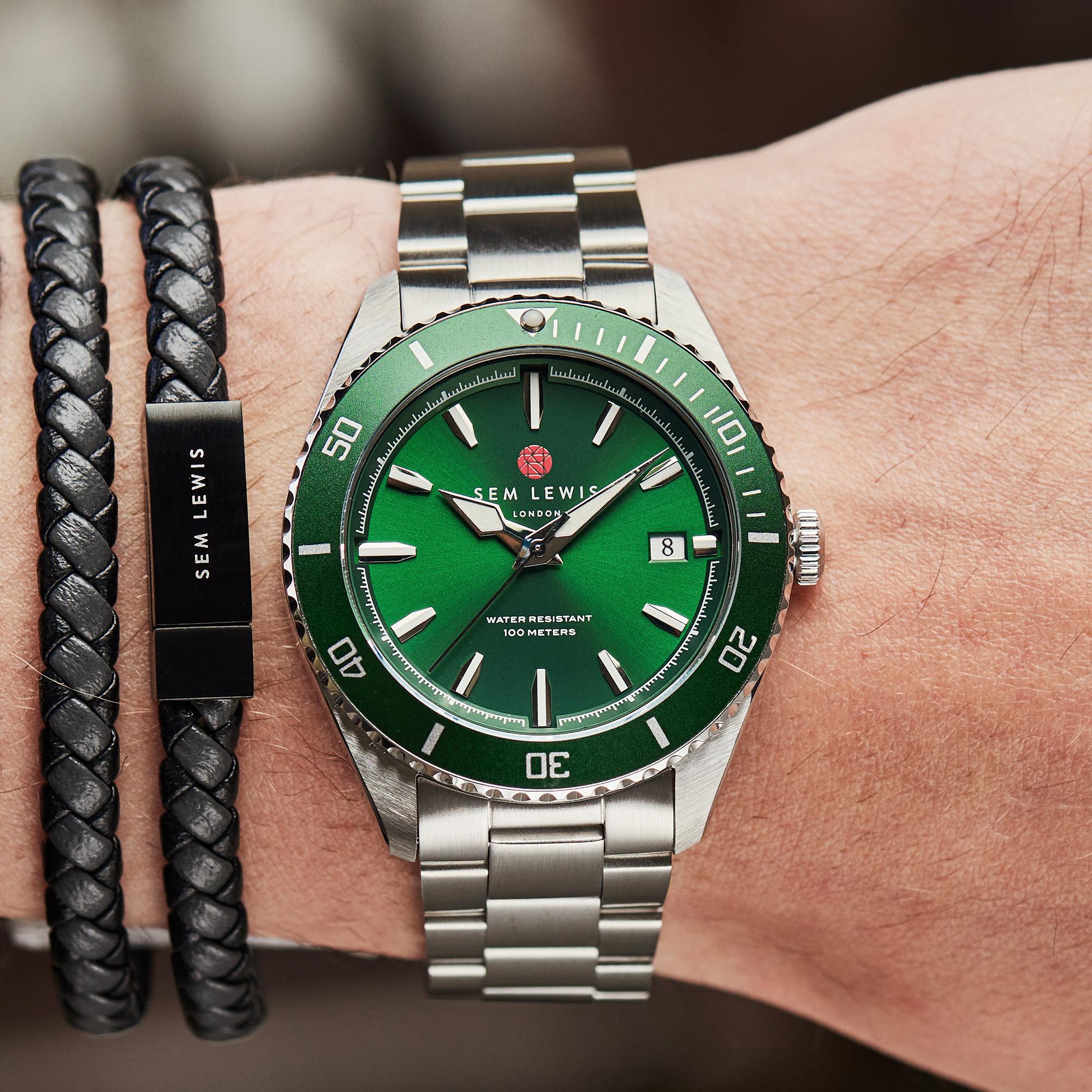Sem Lewis Lundy Island Diver klocka silverfärgad och grön
