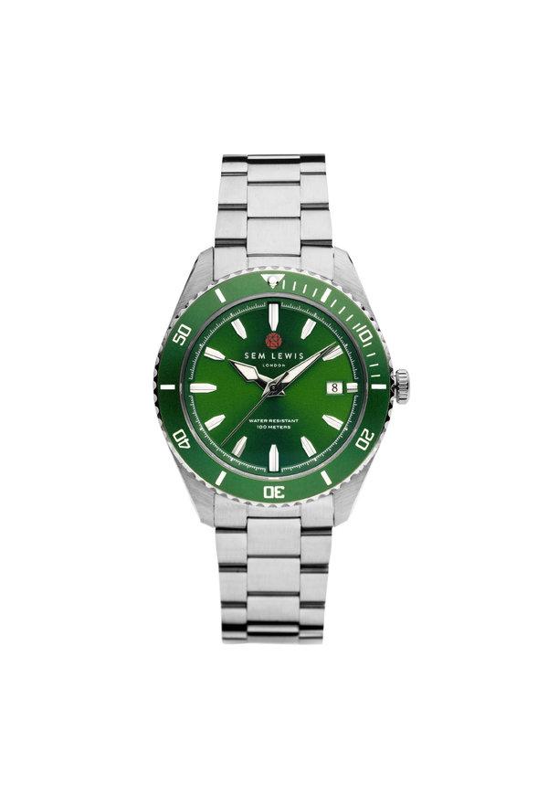 Sem Lewis Lundy Island Diver Uhr Grün / Silberfarben