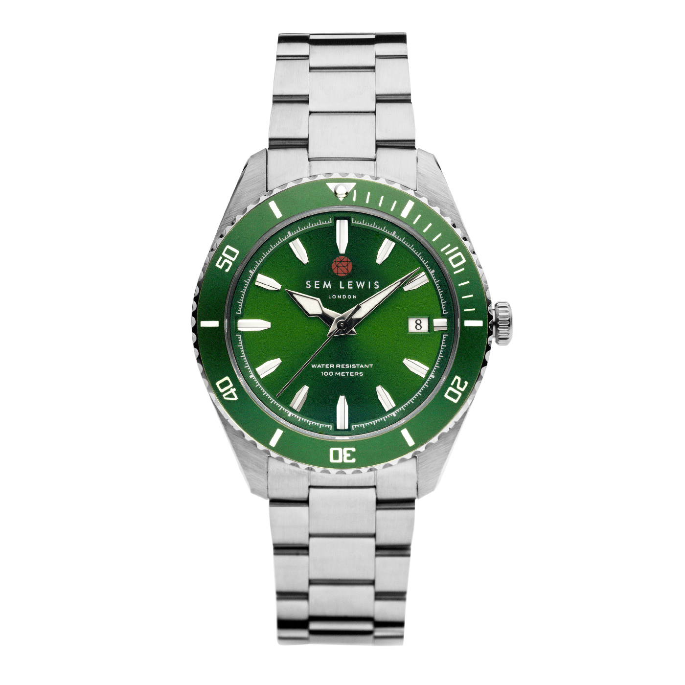 Sem Lewis Lundy Island Diver watch silver colored and green