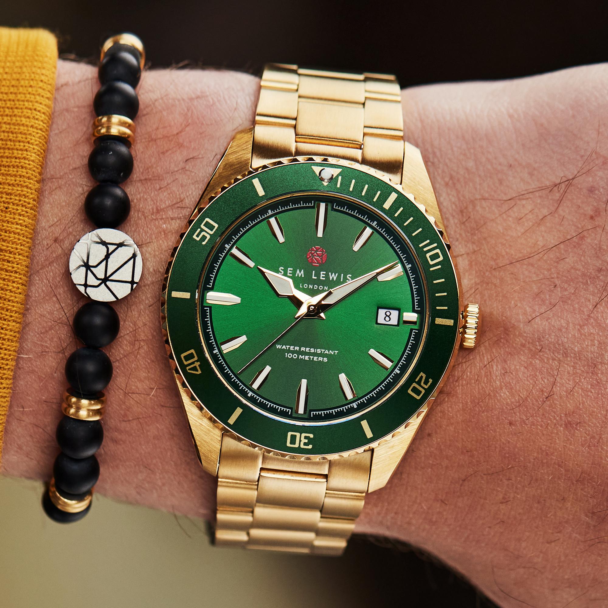 Sem Lewis Lundy Island Diver klocka guldfärgad och grön