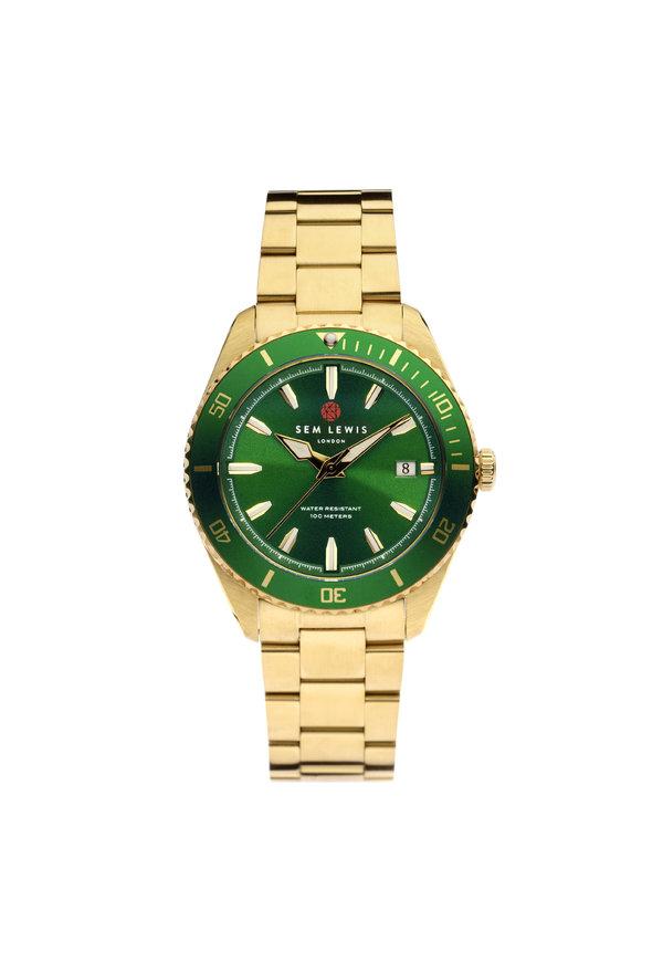 Sem Lewis Lundy Island Diver montre couleur or et vert