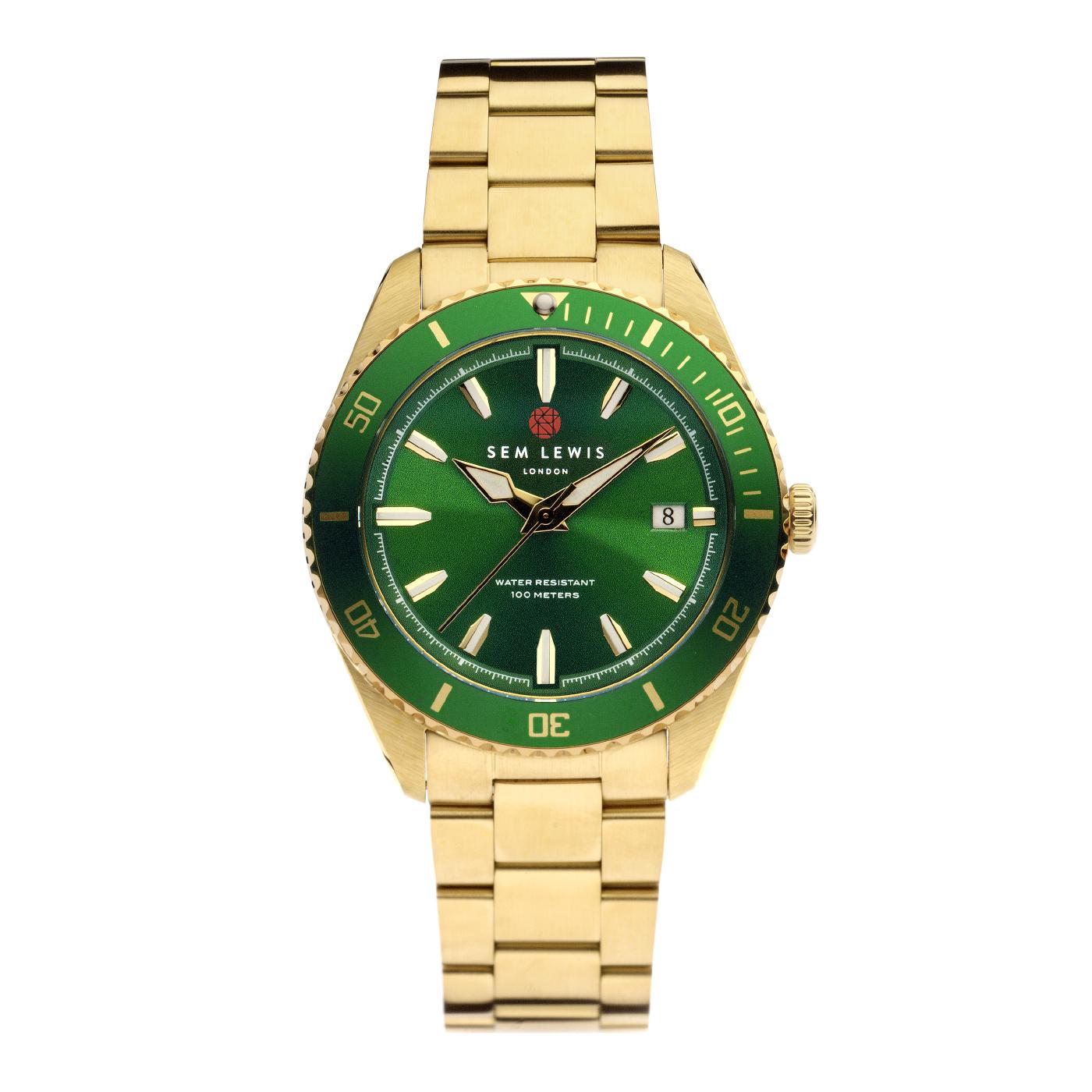 Sem Lewis Lundy Island Diver ur guldfarvet og grøn