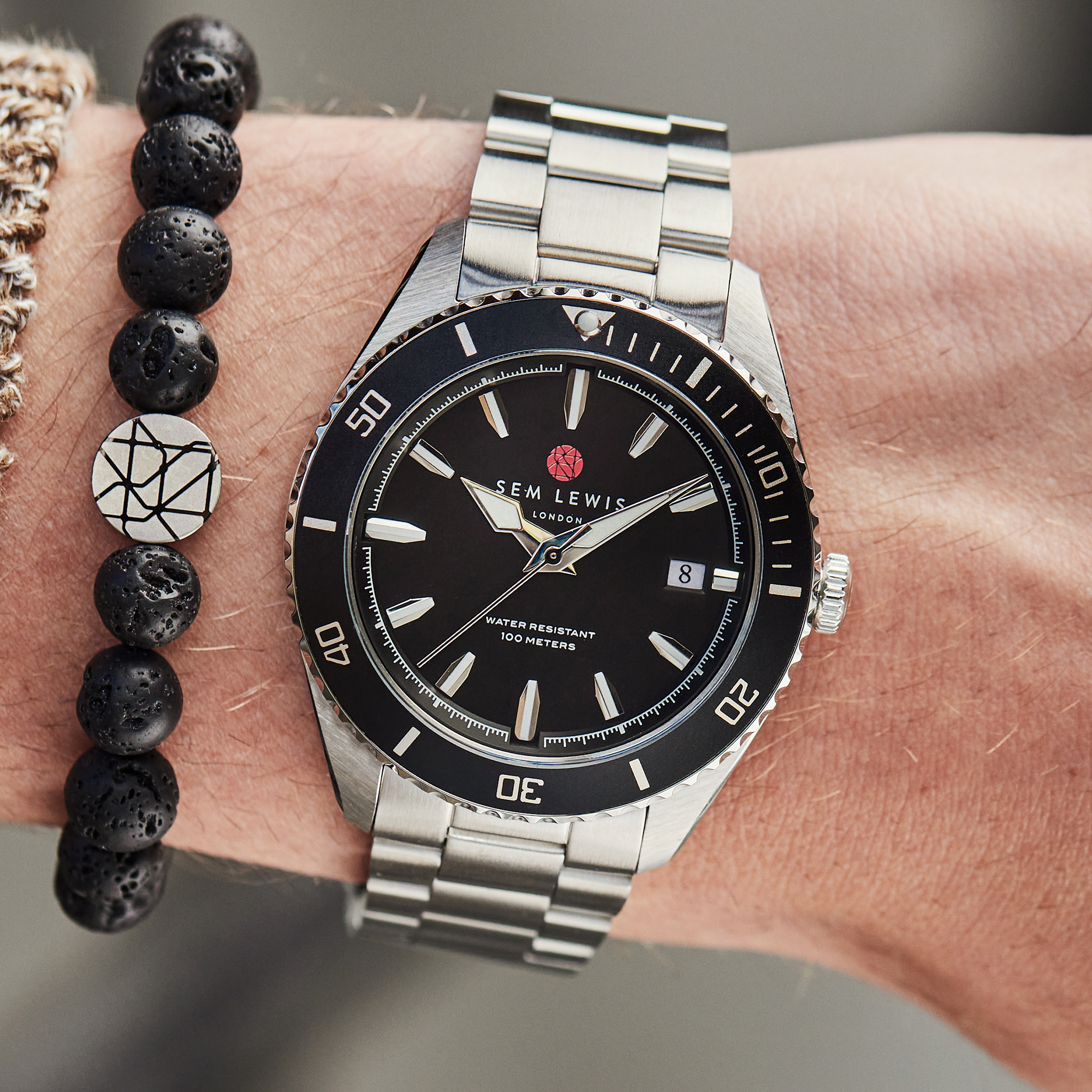 Sem Lewis Lundy Island Diver horloge zilverkleurig en zwart