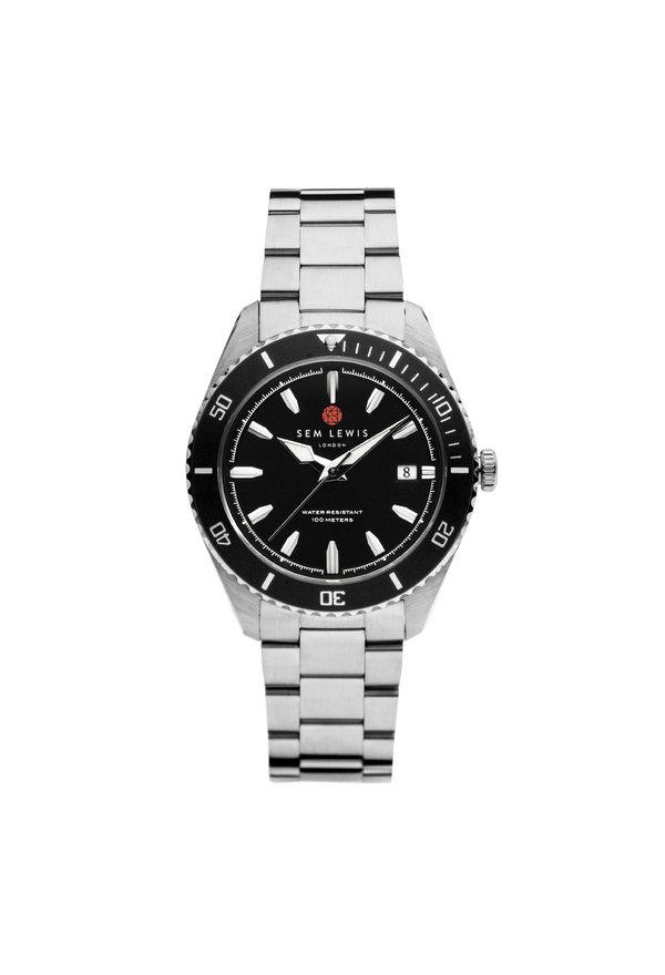Sem Lewis Lundy Island Diver Uhr Schwarz / Silber