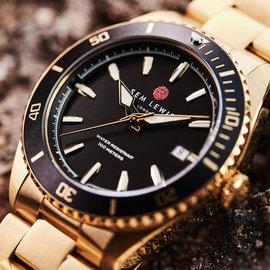 Sem Lewis Lundy Island Diver horloge Zwart / Goudkleurig
