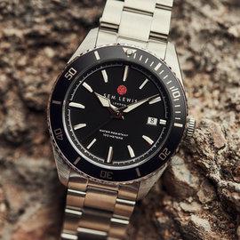 Sem Lewis Lundy Island Diver orologi color argento e nero