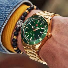 Sem Lewis Lundy Island Diver horloge goudkleurig en groen