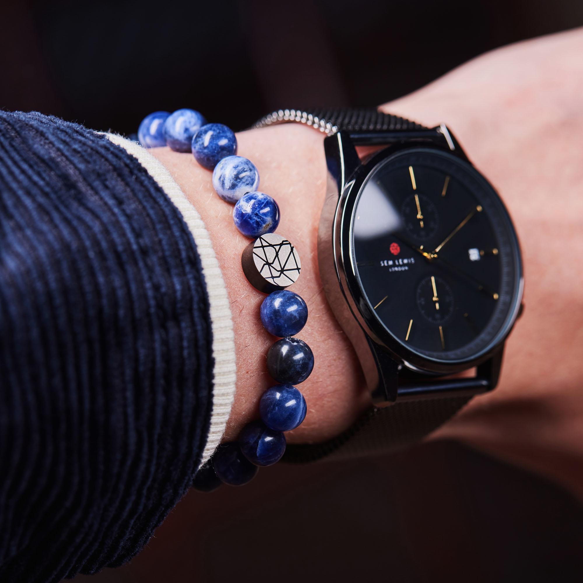 Sem Lewis Piccadilly South Kensington Perlenarmband blau