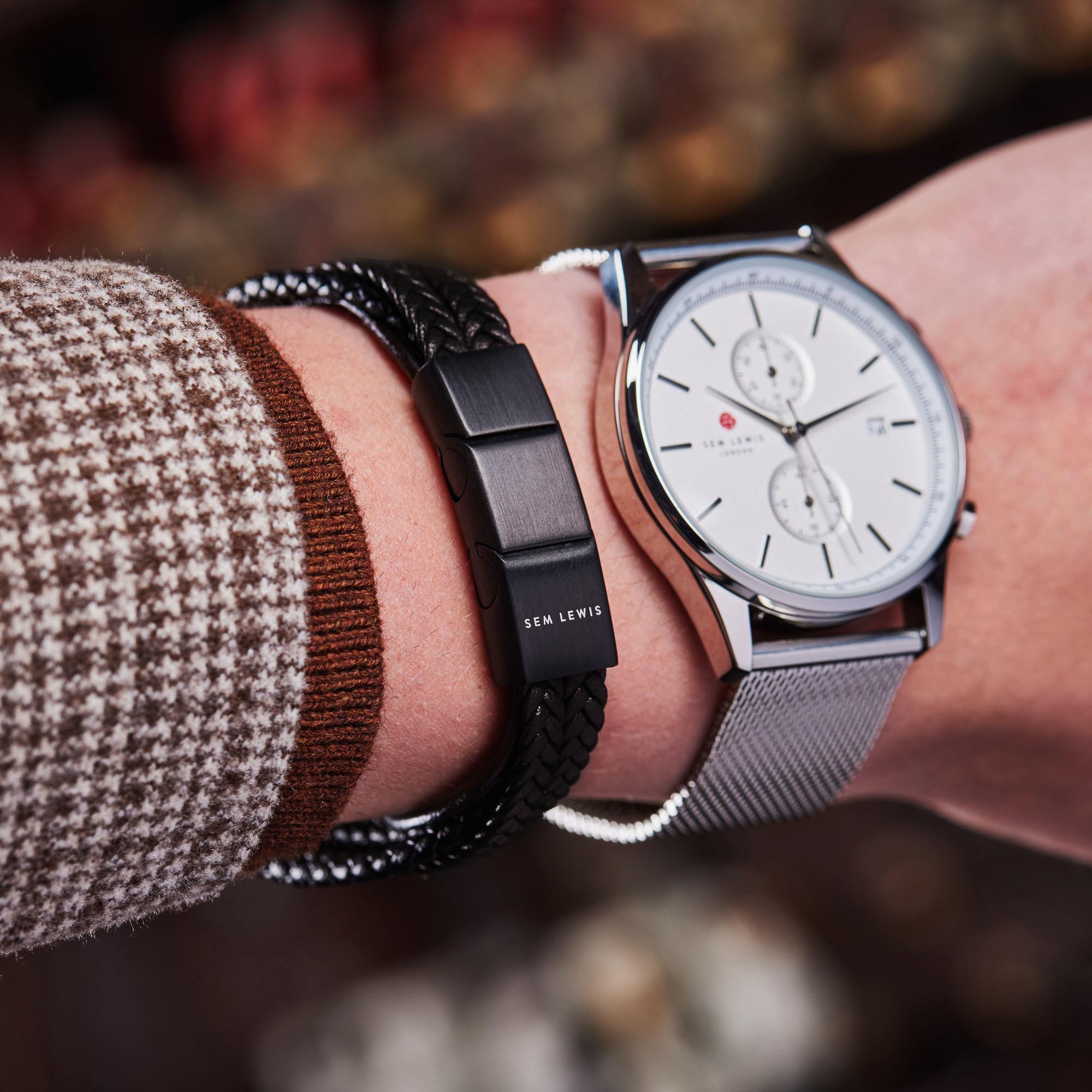 Sem Lewis Bakerloo Paddington braccialetto di pelle nero