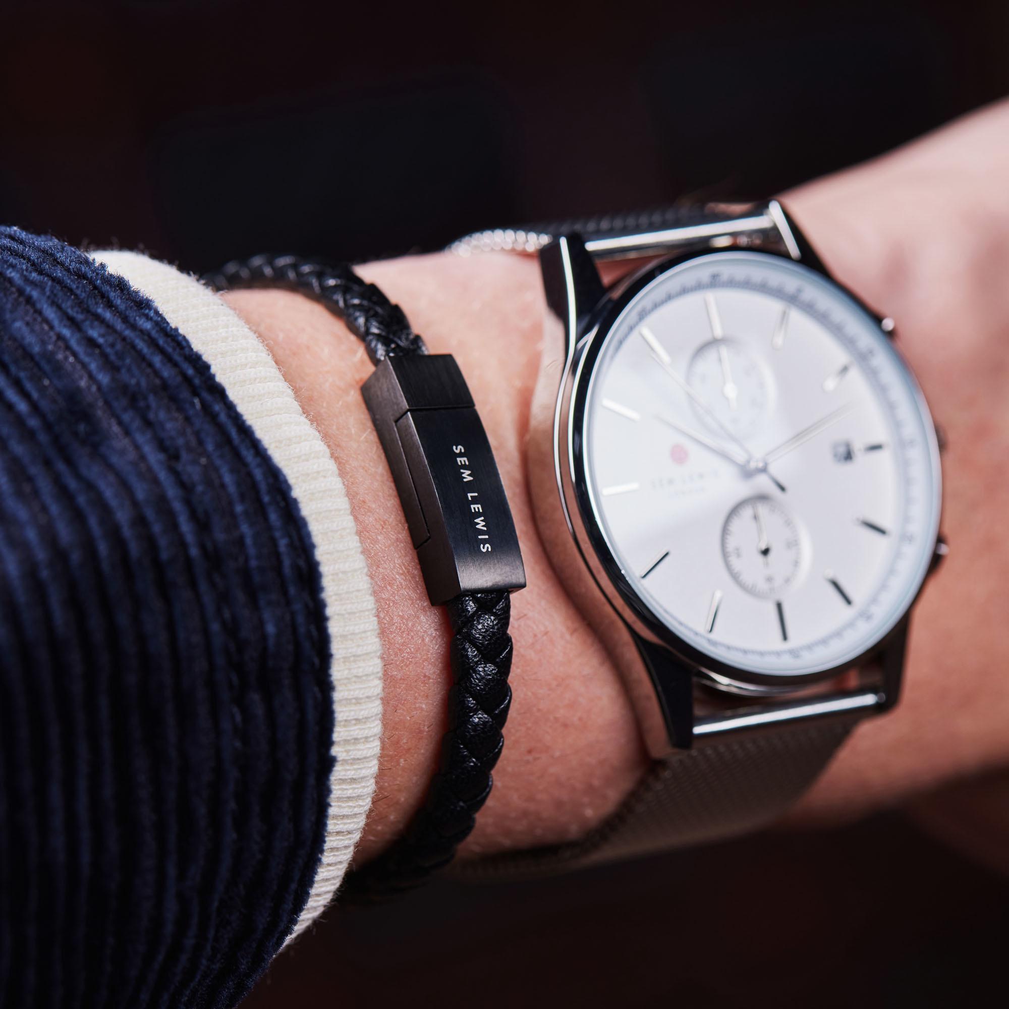 Sem Lewis Bakerloo Baker Street bracelet en cuir noir / noir