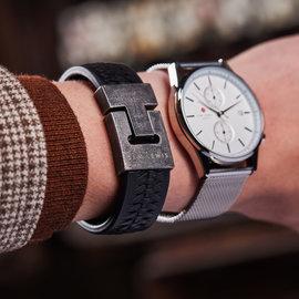 Sem Lewis Bakerloo Charing Cross leather bracelet black