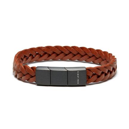 Sem Lewis Bakerloo Paddington braccialetto di pelle cognac