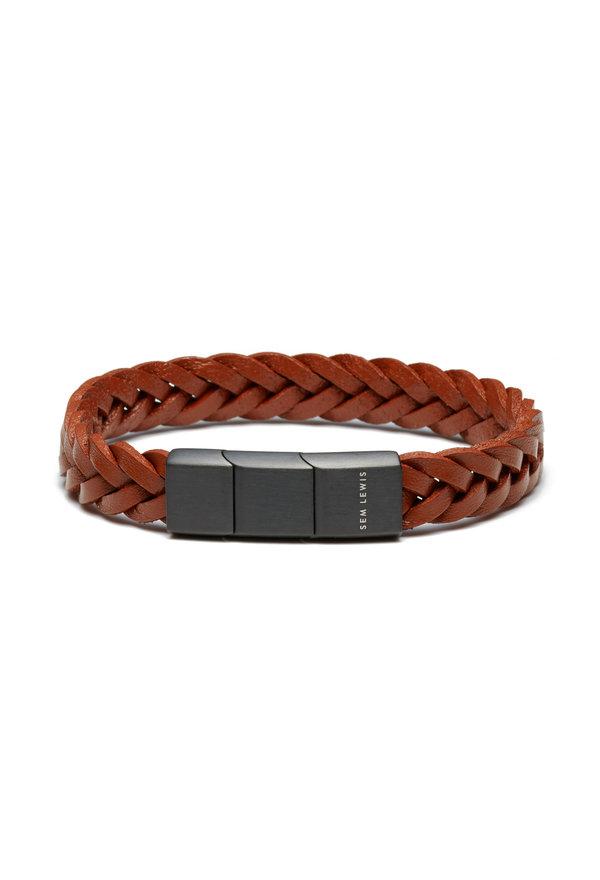 Sem Lewis Sem Lewis Bakerloo Paddington leather bracelet cognac