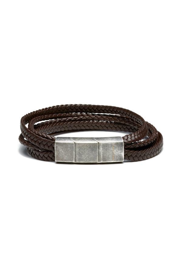 Sem Lewis Bakerloo Paddington leather bracelet dark brown