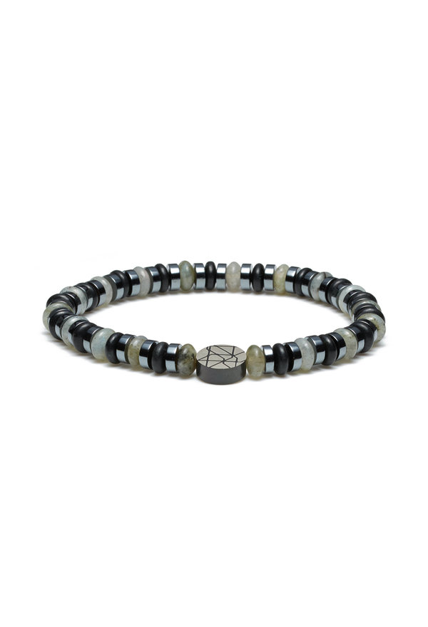 Sem Lewis Piccadilly South Kensington beaded bracelet silver / black