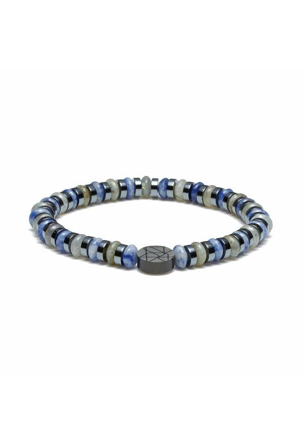 Sem Lewis Bracelet perlé Piccadilly South Kensington bleu