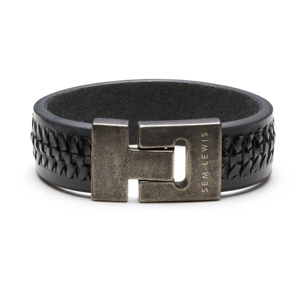 Sem Lewis Bakerloo Charing Cross bracelet en cuir noir