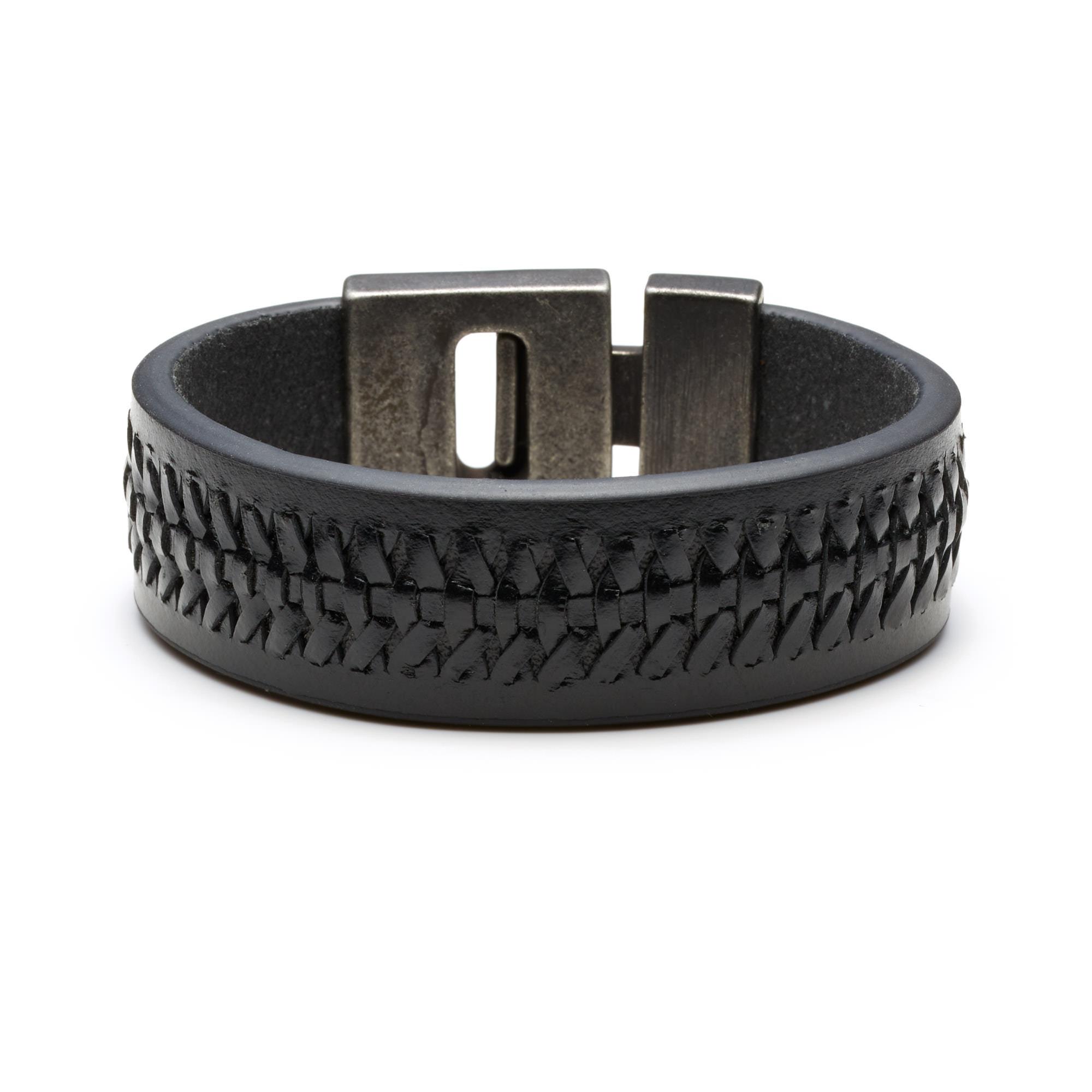 Sem Lewis Bakerloo Charing Cross braccialetto di pelle nero