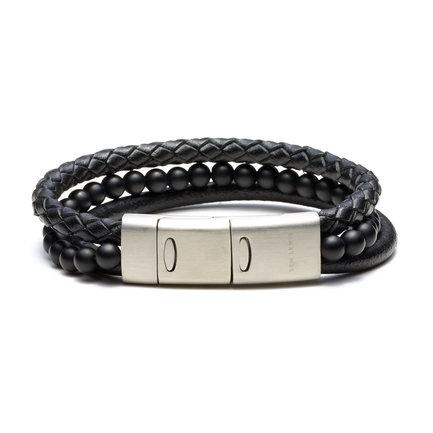 Sem Lewis Bakerloo Kenton braccialetto in pelle nero
