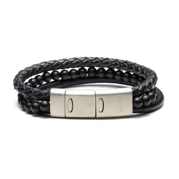 Sem Lewis Bakerloo Kenton bracelet en cuir noir
