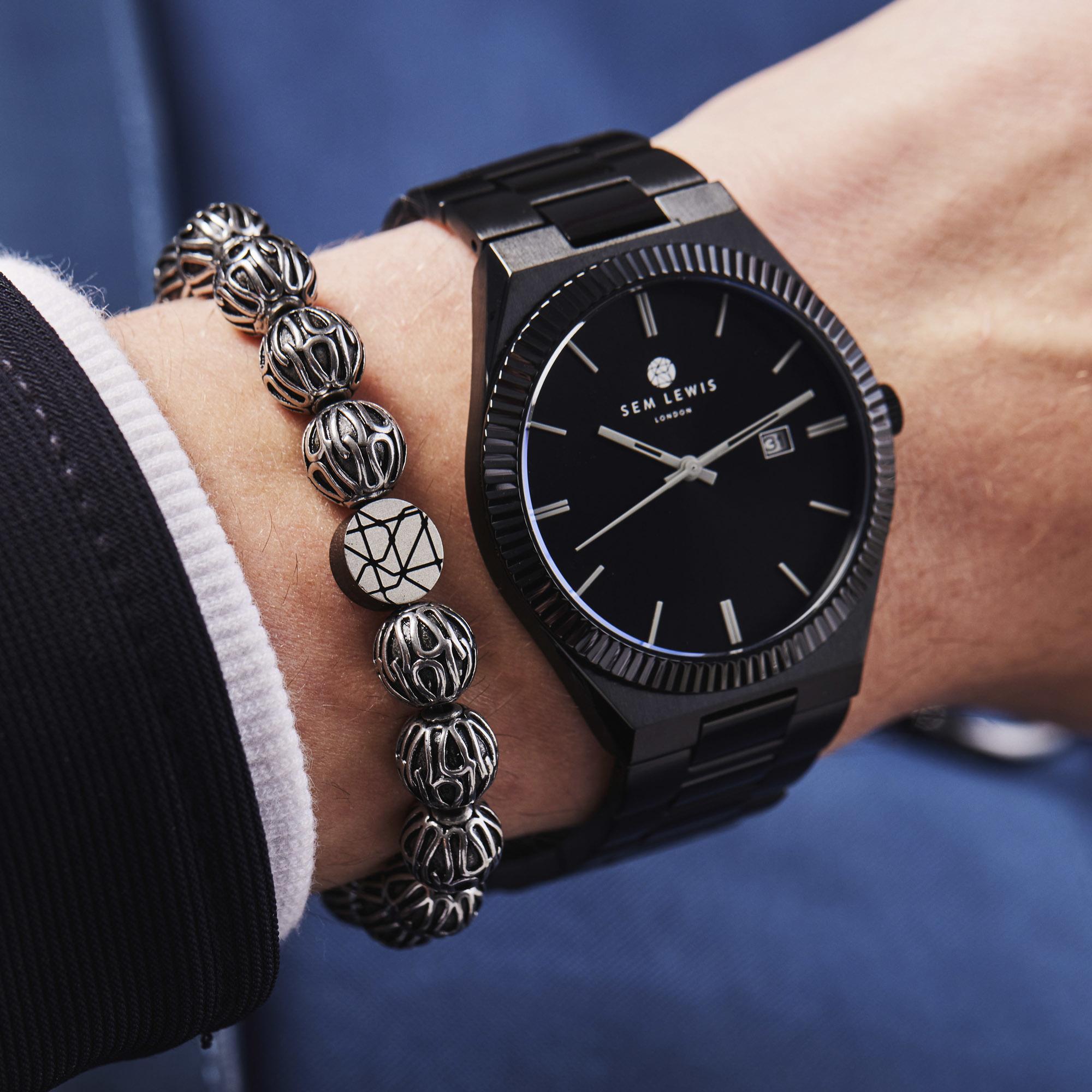 Sem Lewis Piccadilly South Kensington beaded armbånd sølvfarvet