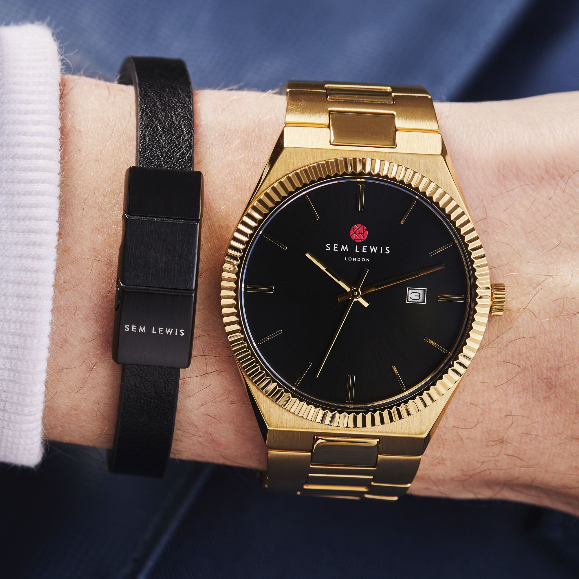 Sem Lewis Bakerloo Bakerstreet leather bracelet black