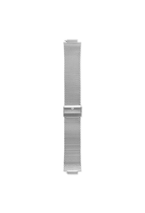 Sem Lewis Moorgate stalen mesh horlogeband 24mm zilverkleurig
