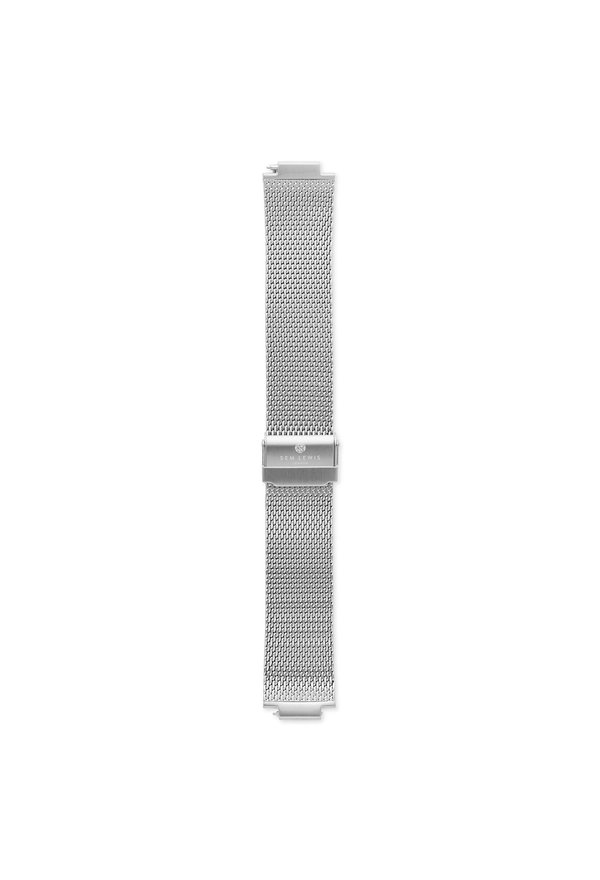 Sem Lewis Moorgate steel mesh watch strap 24 mm silver colored