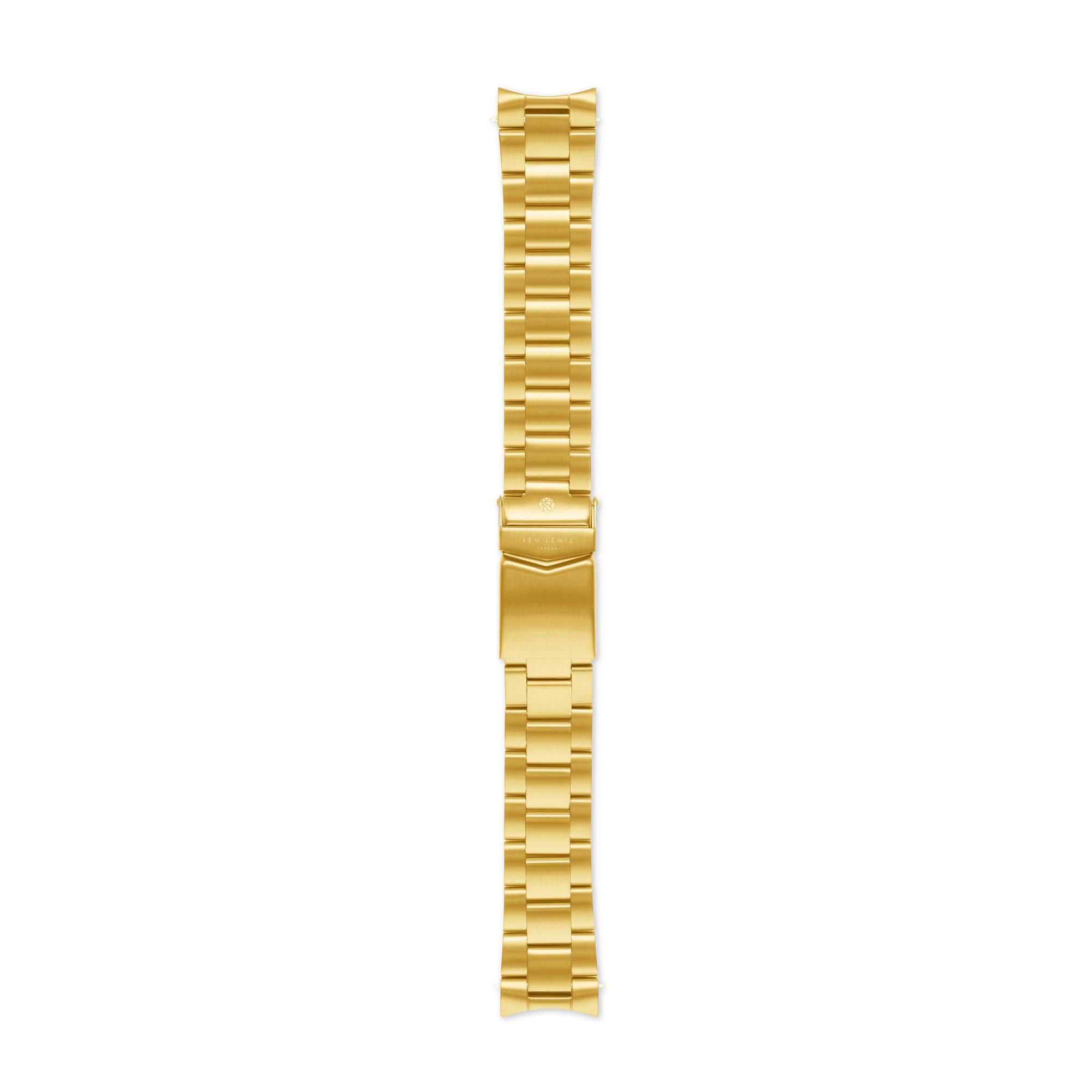 Sem Lewis Lundy Island Diver klockarmband i stål 20 mm guldfärgad