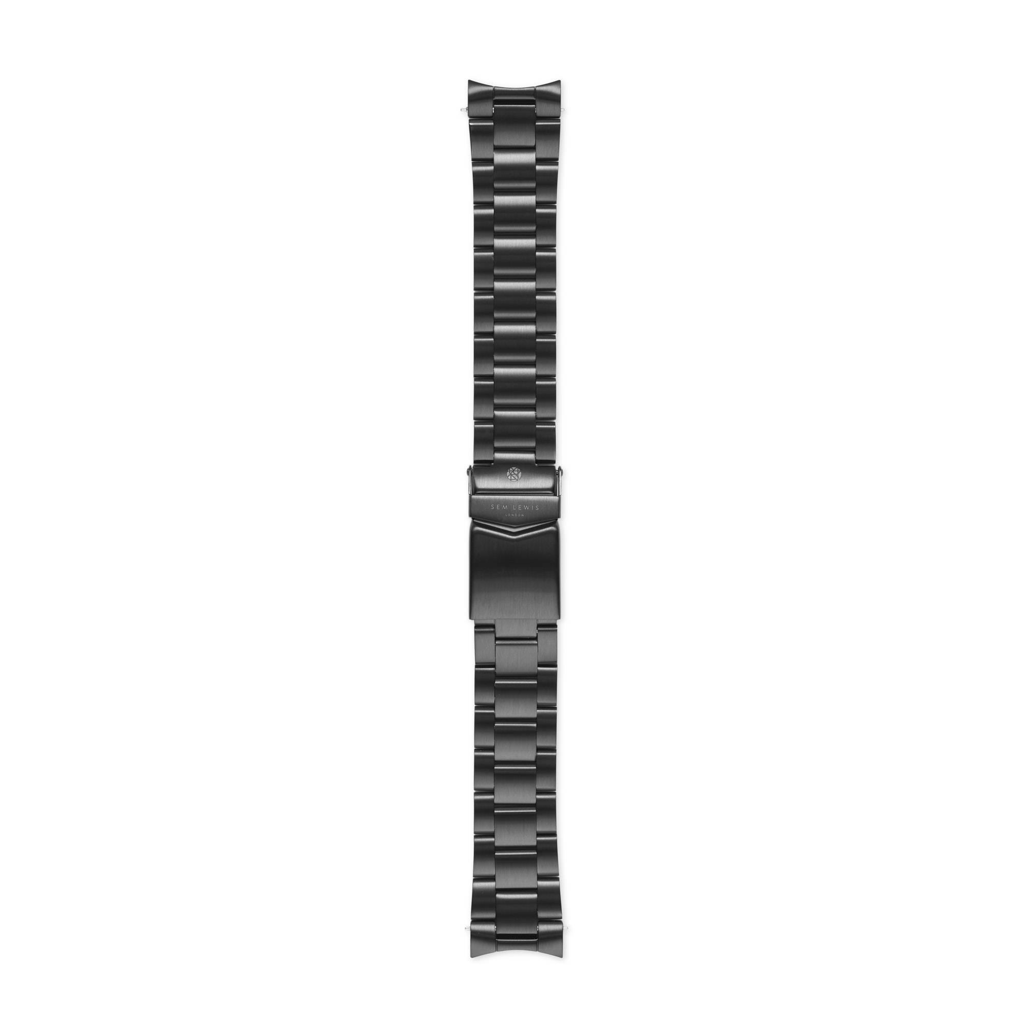 Sem Lewis Lundy Island Diver stalen horlogeband 20 mm zwart