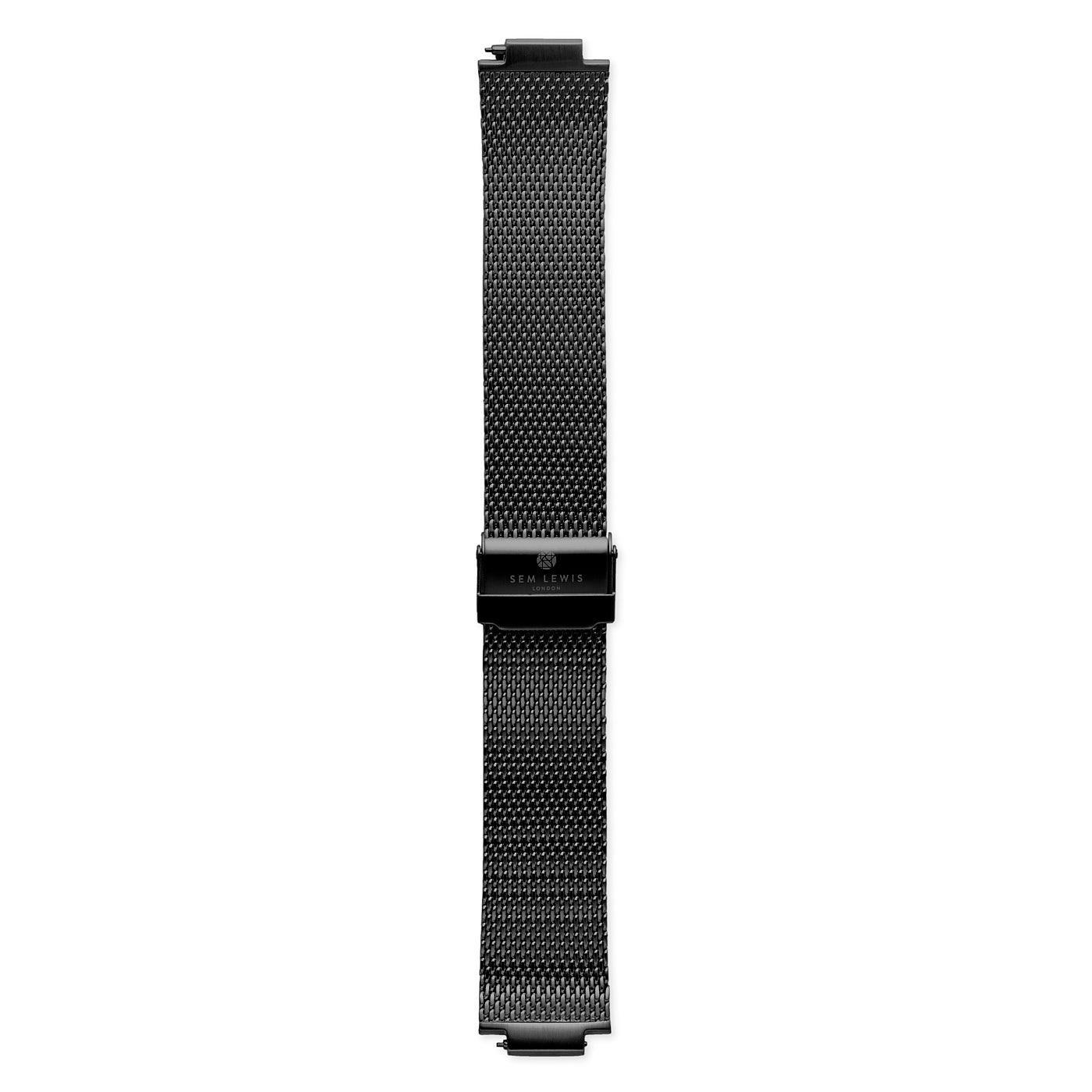 Sem Lewis Moorgate stalen mesh horlogeband 24 mm zwart