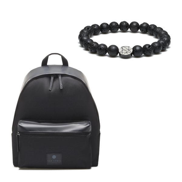 Sem Lewis Sem's Present zwarte rugzak met zwarte kralenarmband