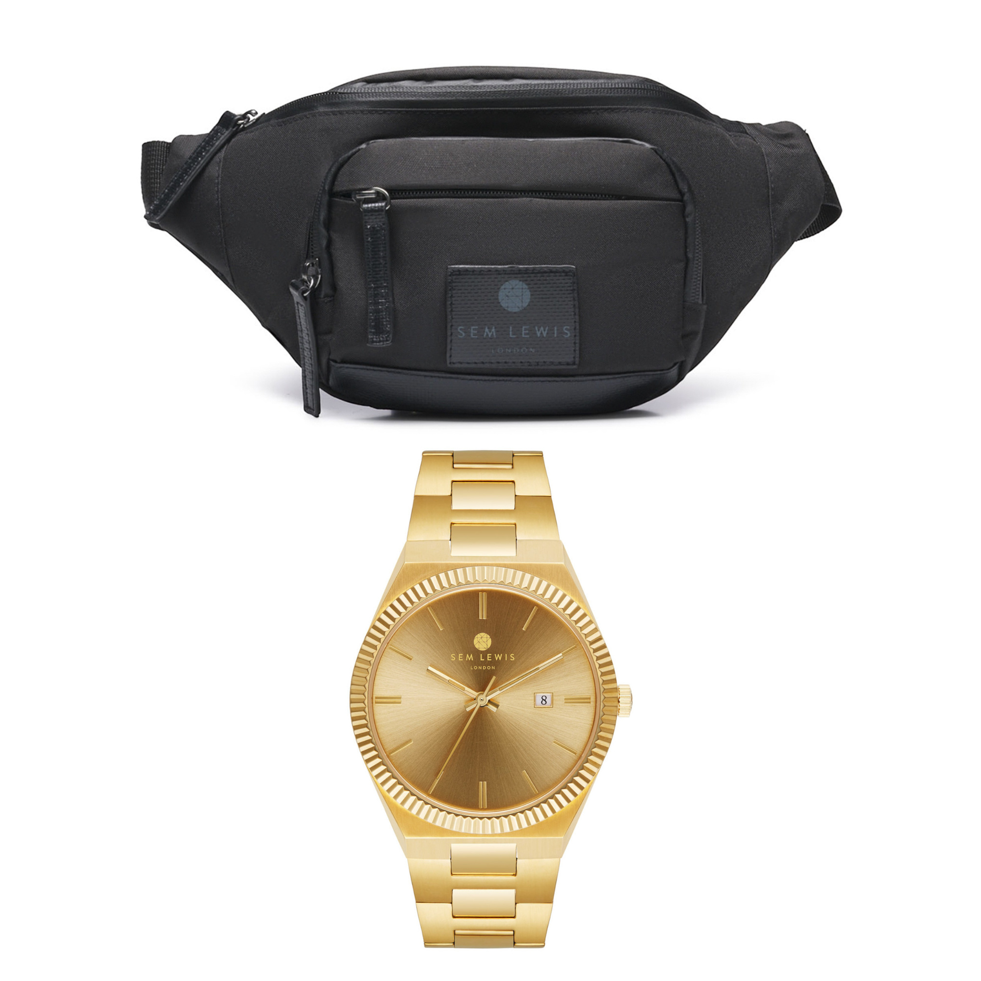 Sem Lewis Sem's Present black fanny pack and gold colored watch