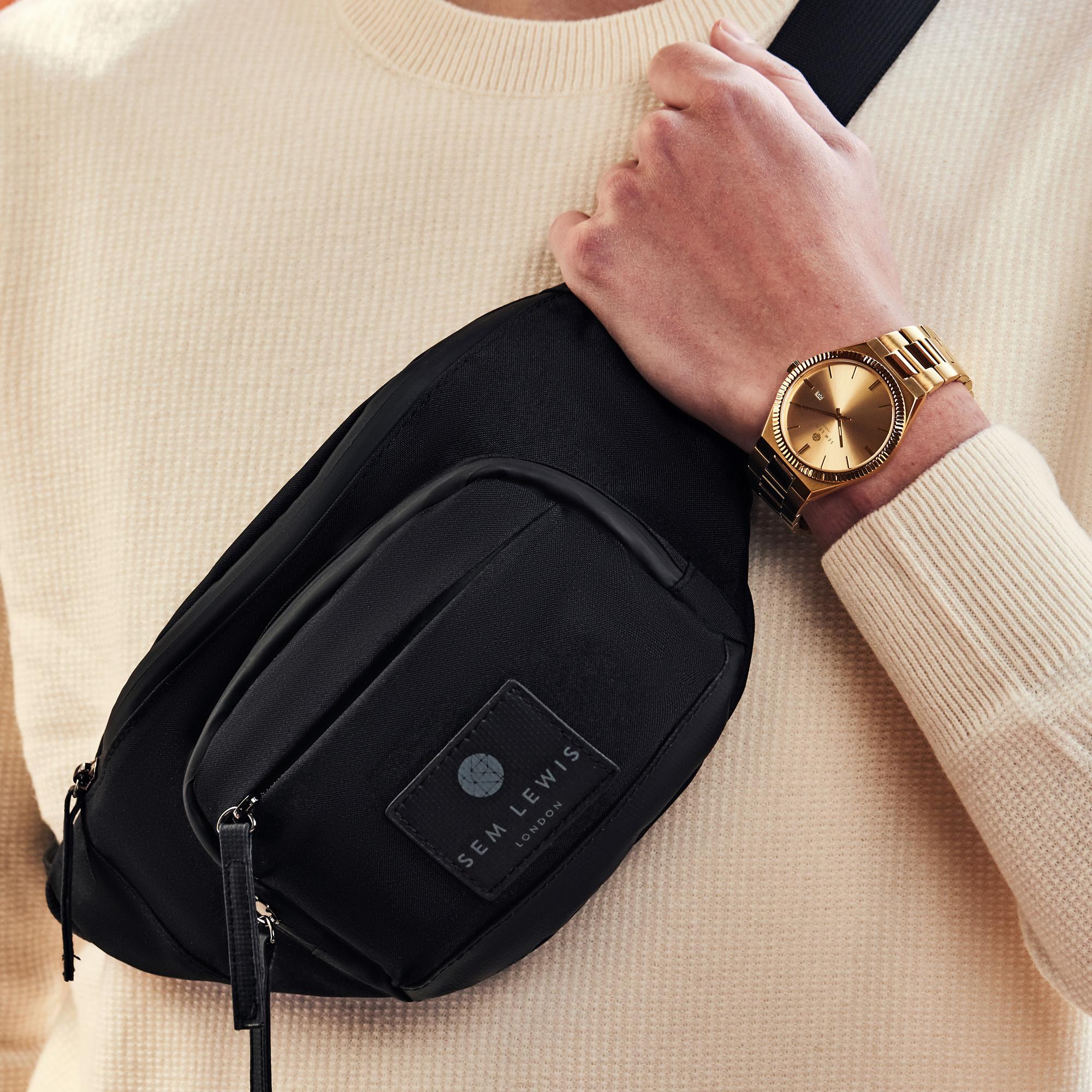 Sem Lewis Sem's Present zwarte heuptas met goudkleurig horloge