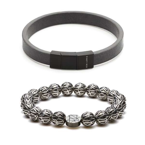Sem Lewis Sem's Present läderarmband och pärlstav armband
